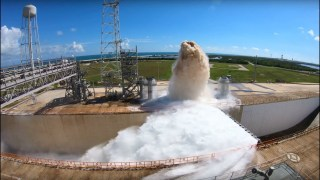 Launch Pad Water Deluge System Test at NASA Kennedy Space Center