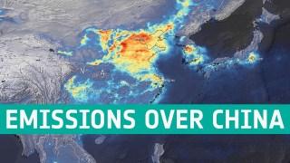 Nitrogen dioxide emissions over China