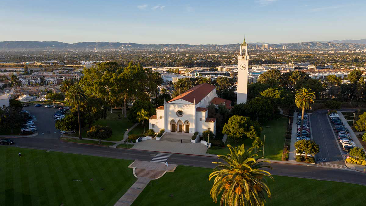 Aerial view of Sacred Heart Chapel at sunset
