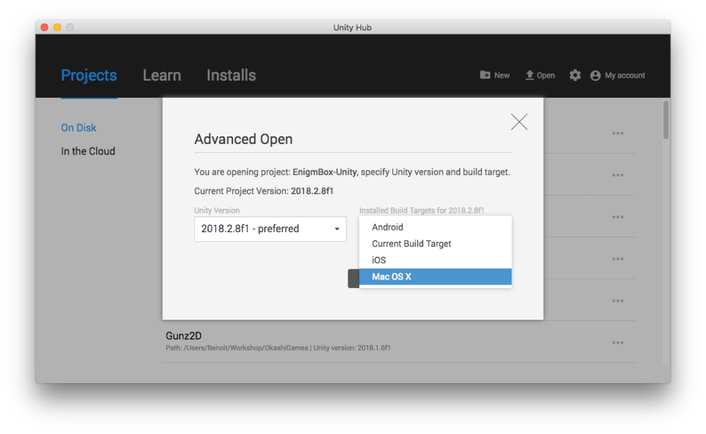 Unity Hub : sélection de la version préférée