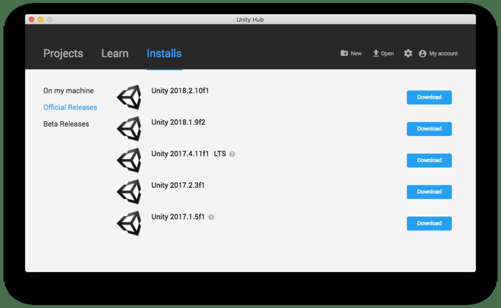 Unity Hub : Installation de plusieurs versions