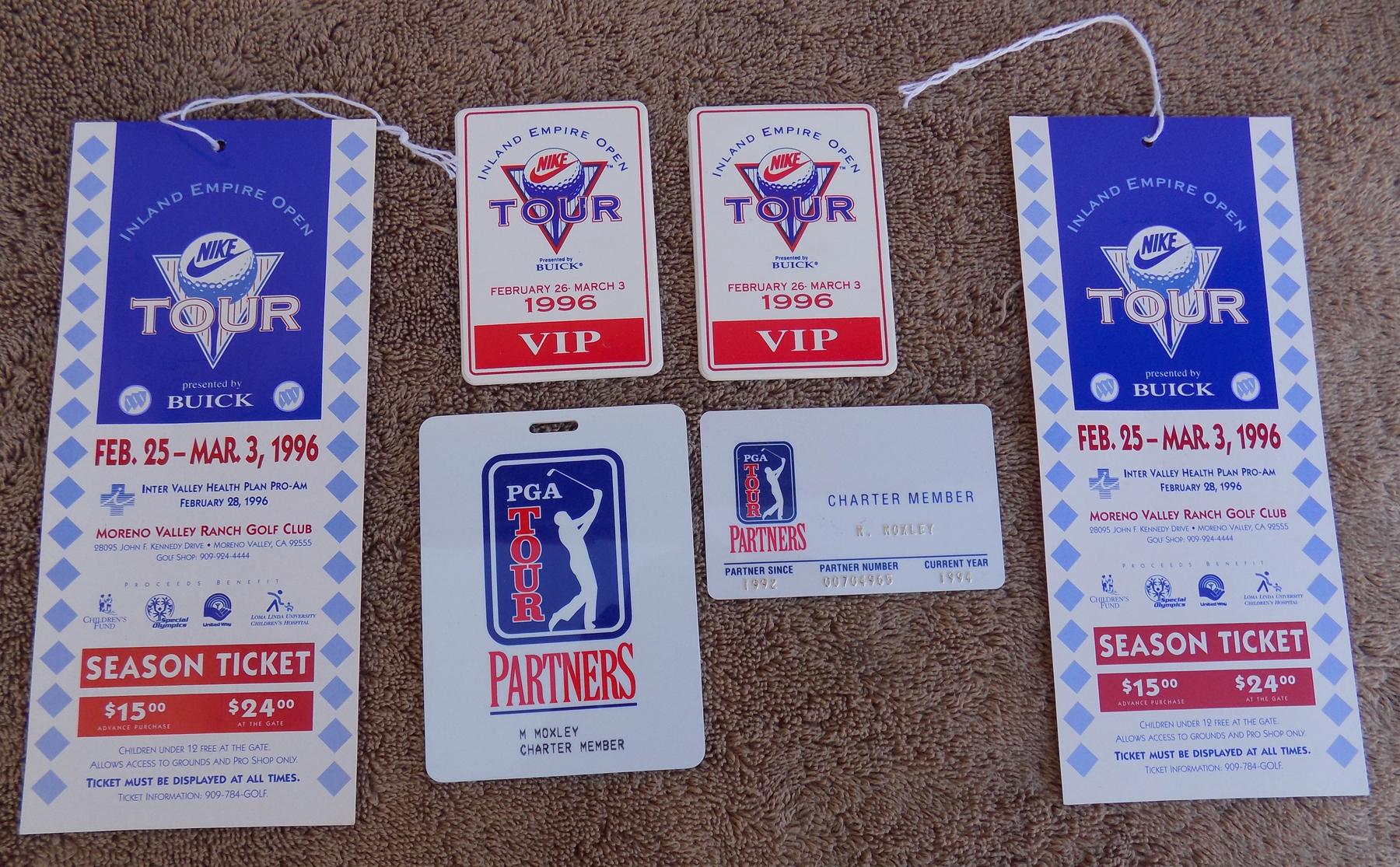 1996 PGA Nike Tour Inland Empire Open Golf Tournament VIP Badge Pass + Tickets | eBay