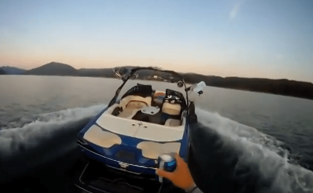 Ghost Surfing – Guy Ghost Rides His Boat While He Wake Skates Behind It