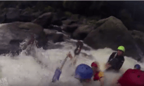 White Water Rafter Goes Overboard