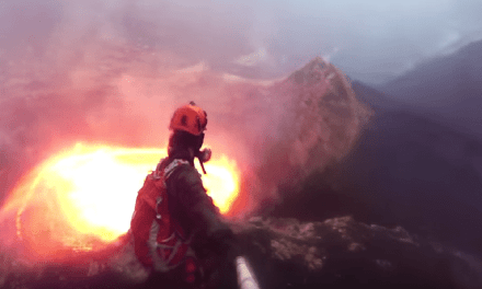 Amazing Footage Of Men Descending Into Active Volcano