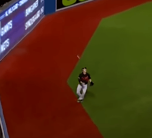 Fan Chucks A Beer Can At Outfielder Catching Fly Ball