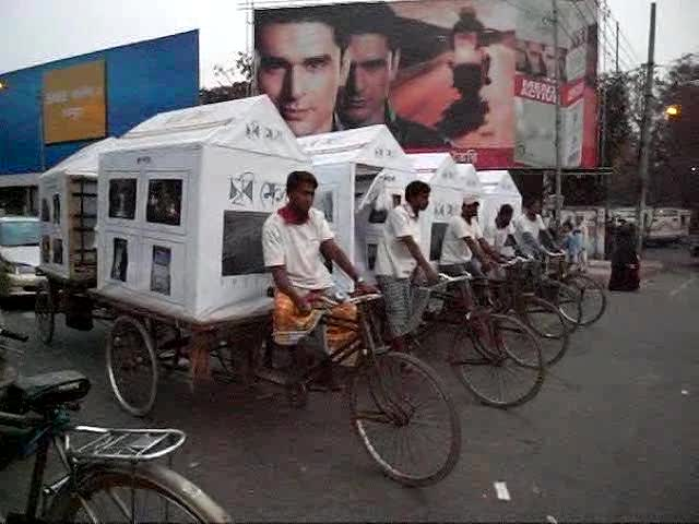 CMV Mobile exhibition on rickshaw vans leaving Shilpakala academ