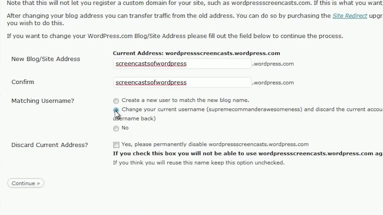 WordPress.com – Changing your blog address