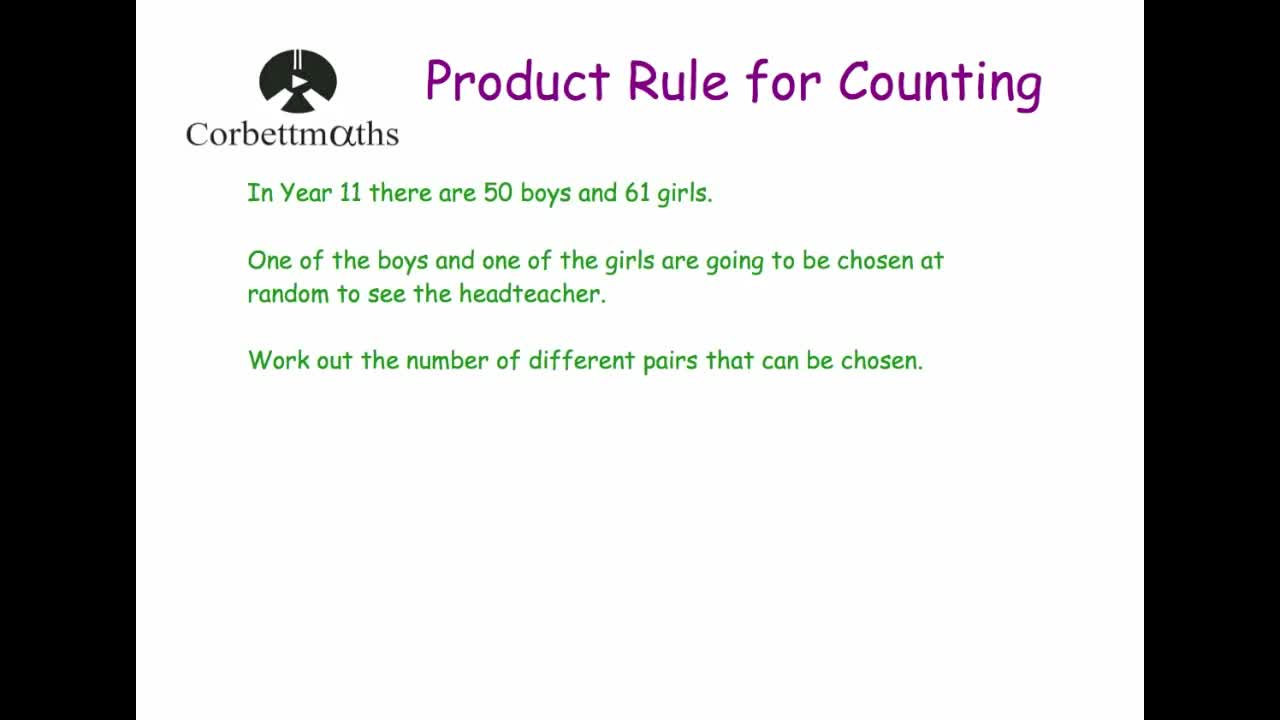 Product Rule for Counting – Product Rule Worksheet