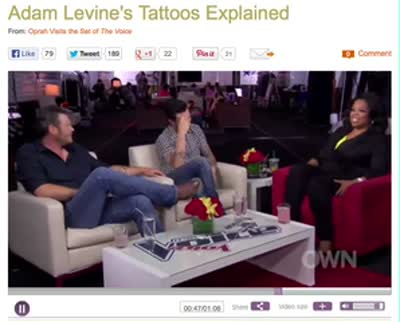 Adam Levine excerpts with Oprah Winfrey 2 June 2013 about tattoos and marriage