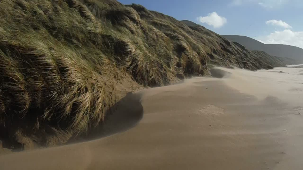 Wind blowing sand near Rhossili dunes