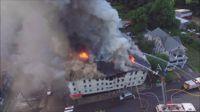 Drone footage of fire at 43 Colley St. in Waterbury