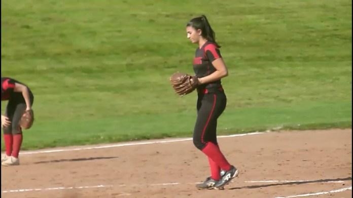 Pomperaug softball pitcher Ashley Antonazzo
