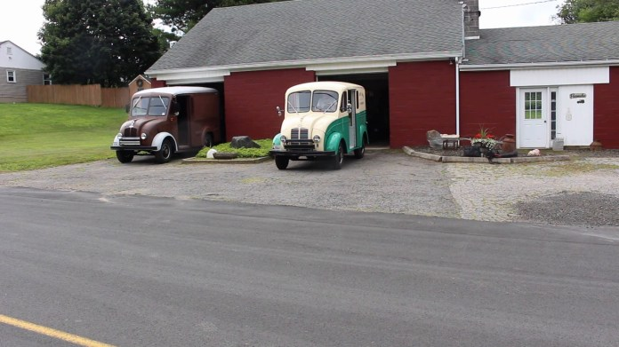 George and Barbara Parmelee of Bethlehem, Conn. collect vintage DIVCO milk trucks. They were unique because operators could drive them from either a sitting or standing position.