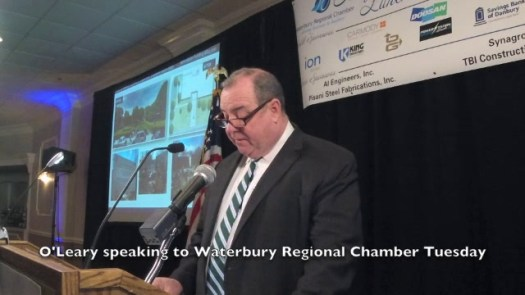 Mayor Neil M. O'Leary addressed the Waterbury Regional Chamber Tuesday, in his address he updated the crowd on the Silas Bronson Library renovations.