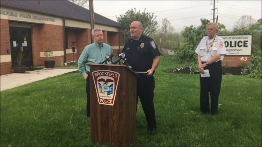 Brookfield police Chief Jay Purcell gives an update on Tuesday's violent storm that caused massive destruction around the town.