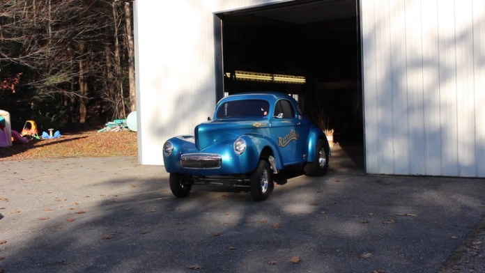 """Bruce Deming of Torrington, Conn. spent 11 years building a 1941 Willys """"gasser"""" drag car that he races and takes to car shows. It's called RattleTrap. How it got the name can be found in """"My Ride."""""""