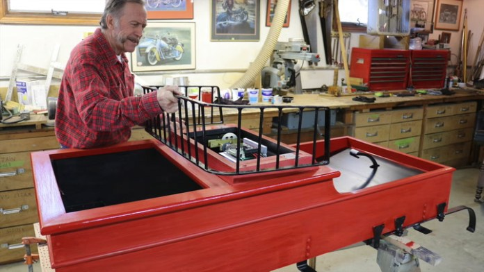 Bill Eggers of Goshen, Connecticut has been building replicas of early motorcycle vehicles in his basement workshop for nearly two decades. His current project is a 1902 Studebaker electric car.