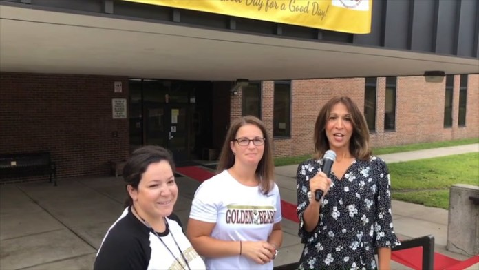 Community Karen visits Thomaston HS for the first day of school and a special event to kick off the new school year with positive vibes!