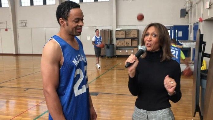 Community Karen visits Bucks Hill Elementary for a special donation and basketball game.