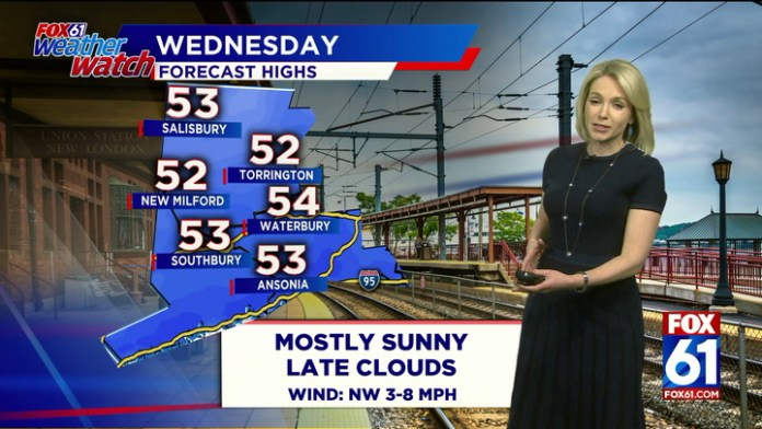 Mostly sunny, highs in the lower 50s on Wednesday