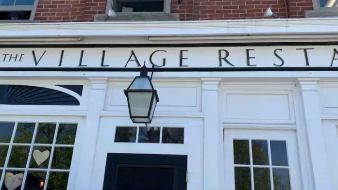 Scene on reopening day: Village Restaurant in Litchfield