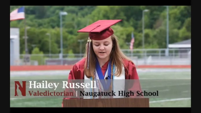 Hailey Russell delivers her graduation speech as the Naugatuck High 2020 valedictorian.