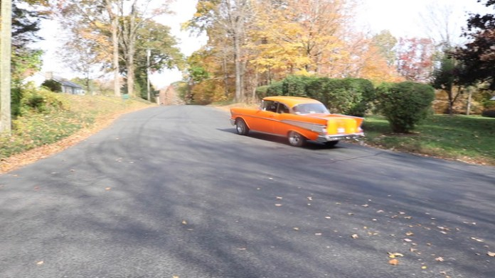 It's an iconic model that blends into the scenery when the leaves change colors - a two-door 1957 Chevrolet Bel Air hardtop in brilliant orange owned by Richie Girolimon of Harwinton, Conn. He showsit off in My Ride.