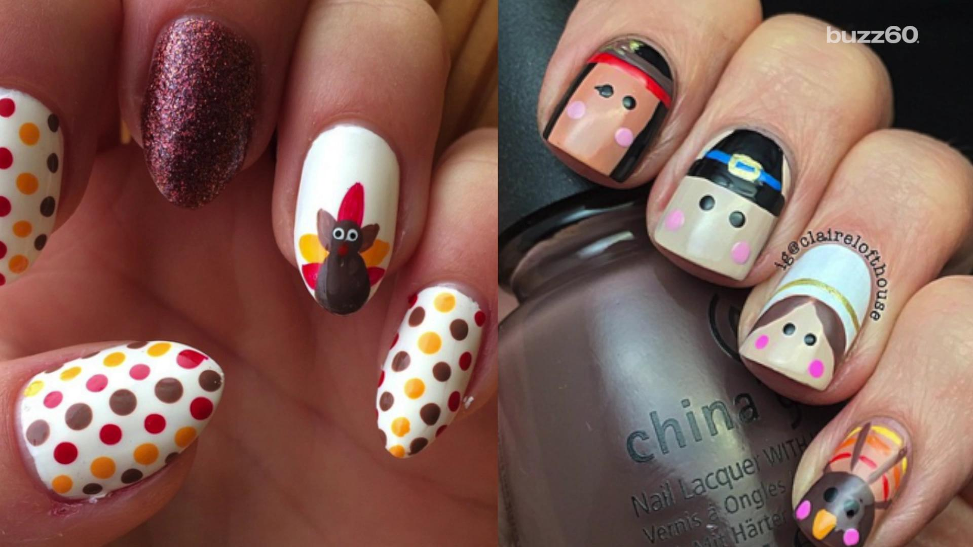 flashy and fun thanksgiving nail