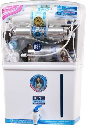 KENT New Grand 8-Litres Wall-Mountable RO + UV UF + TDS (White) 20 literhr Water Purifier