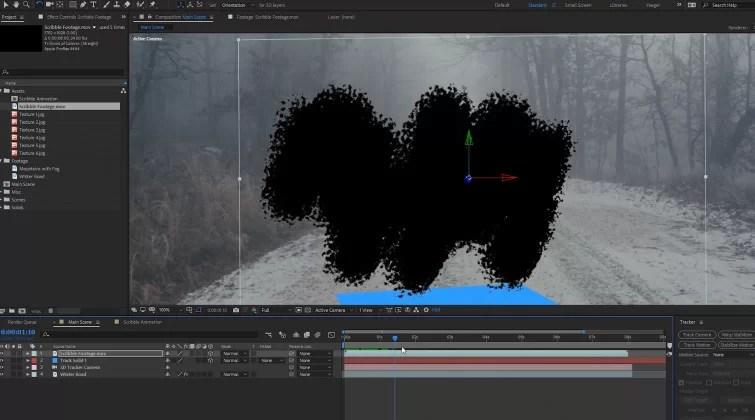 Transición del portal en After Effects: posición de la capa 3D