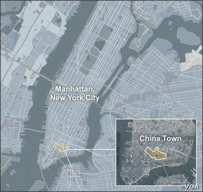 Map of China Town, Manhattan