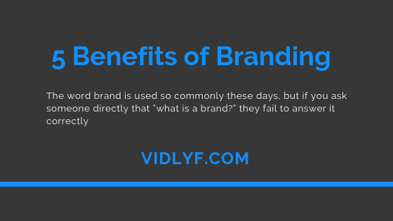 5 Benefits of Branding: Why you need a Strong Brand, VidLyf.com