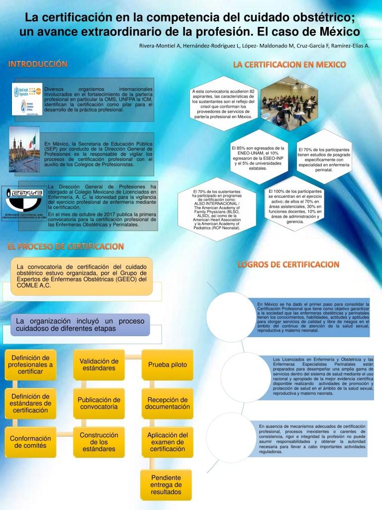 poster: La certificación en la competencia del cuidado obstétrico