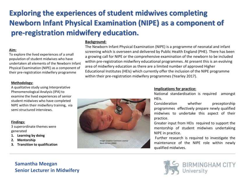 Poster: Exploring the experiences of student midwives completing Newborn Infant Physical Examination (NIPE)