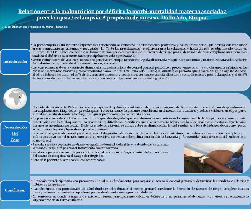 Poster: Relationship between malnutrition and maternal morbidity and mortality associated with preeclampsia / eclampsia. About a case, Dollo Ado, Ethiopia.