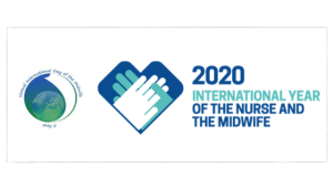 vidm logo and 2020 year of the midwife logo