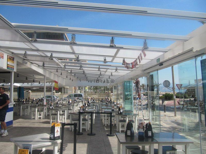 Techo m vil virslid y cortinas de cristal vicba en - Moviles de techo ...
