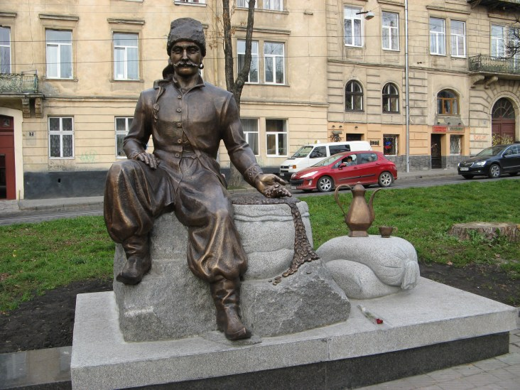 A monument to Yuri Kulchytskyi.