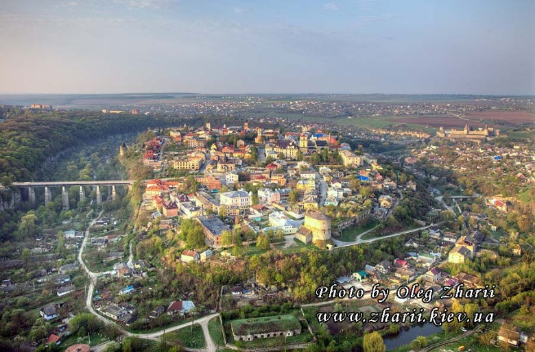 View of Kamianets-Podilskyi from an air balloon.