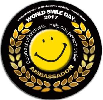 World Smile Day. Do an act of kindness. Help one person smile! #WorldSmileDay