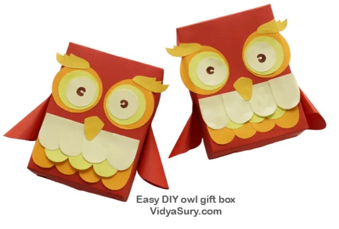 Step by step easy DIY owl gift box