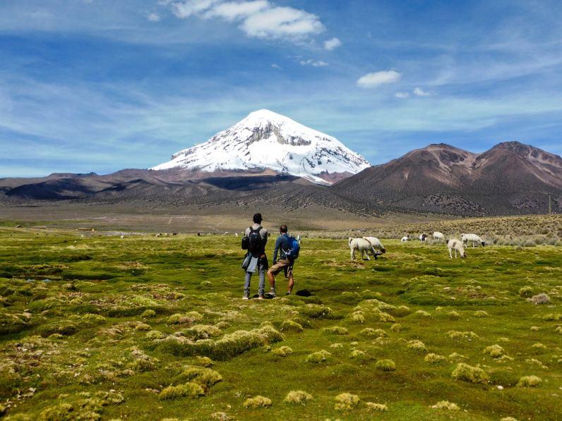 Seuls face au volcan Sajama-Bolivie