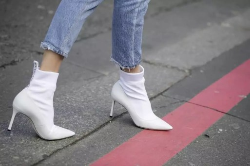 leather boots: clean white shoes