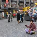 Artistas callejeros en Praga