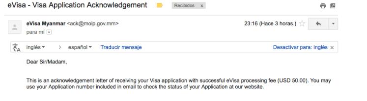 Aprobación de la visa a Myanmar