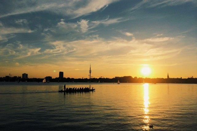 Sonnenaufgang in Hamburg