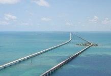 Florida Rundreise Tipps: Seven Mile Bridge vom Helikopter