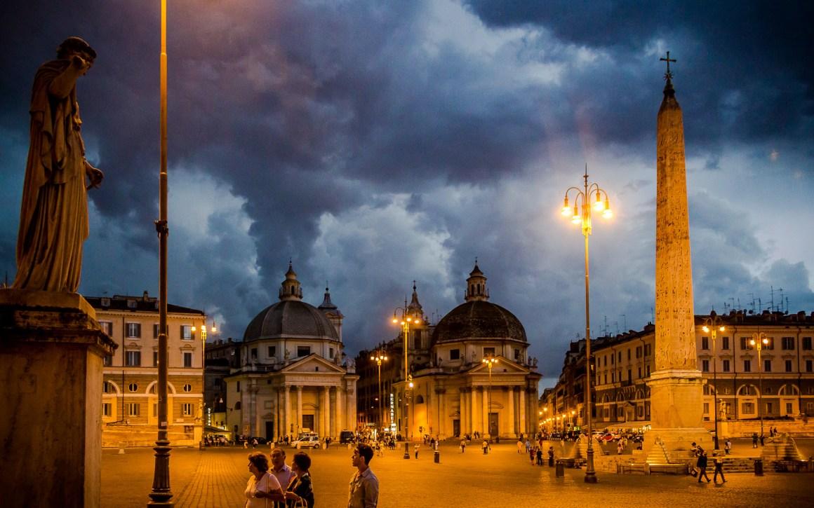 Nacht van Piazza del Popolo Rome wordt geschoten dat