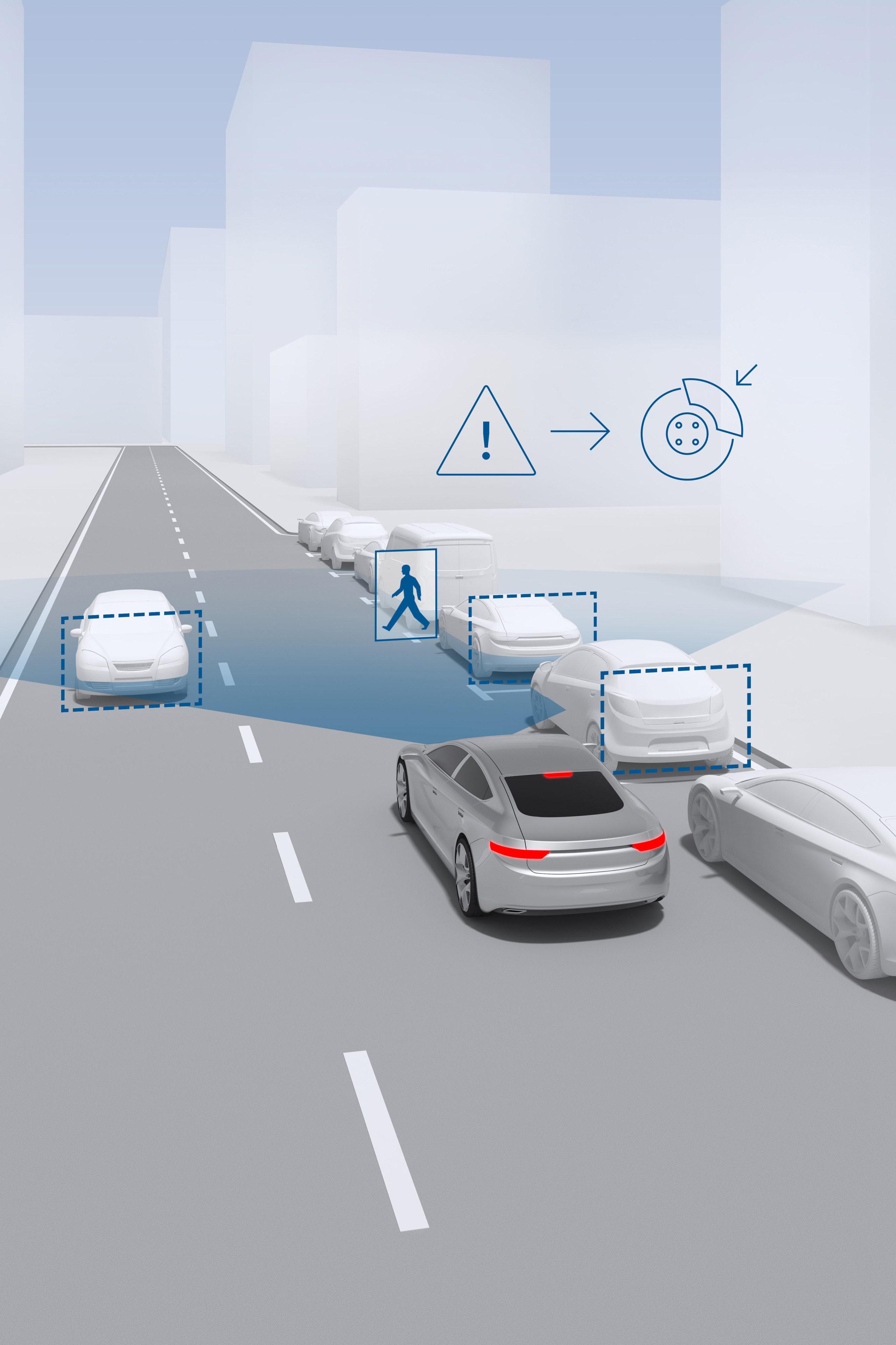 Automatische Notbremssysteme sind in der Lage, neben Fahrzeugen auch Fußgänger und Radfahrer zu erkennen.